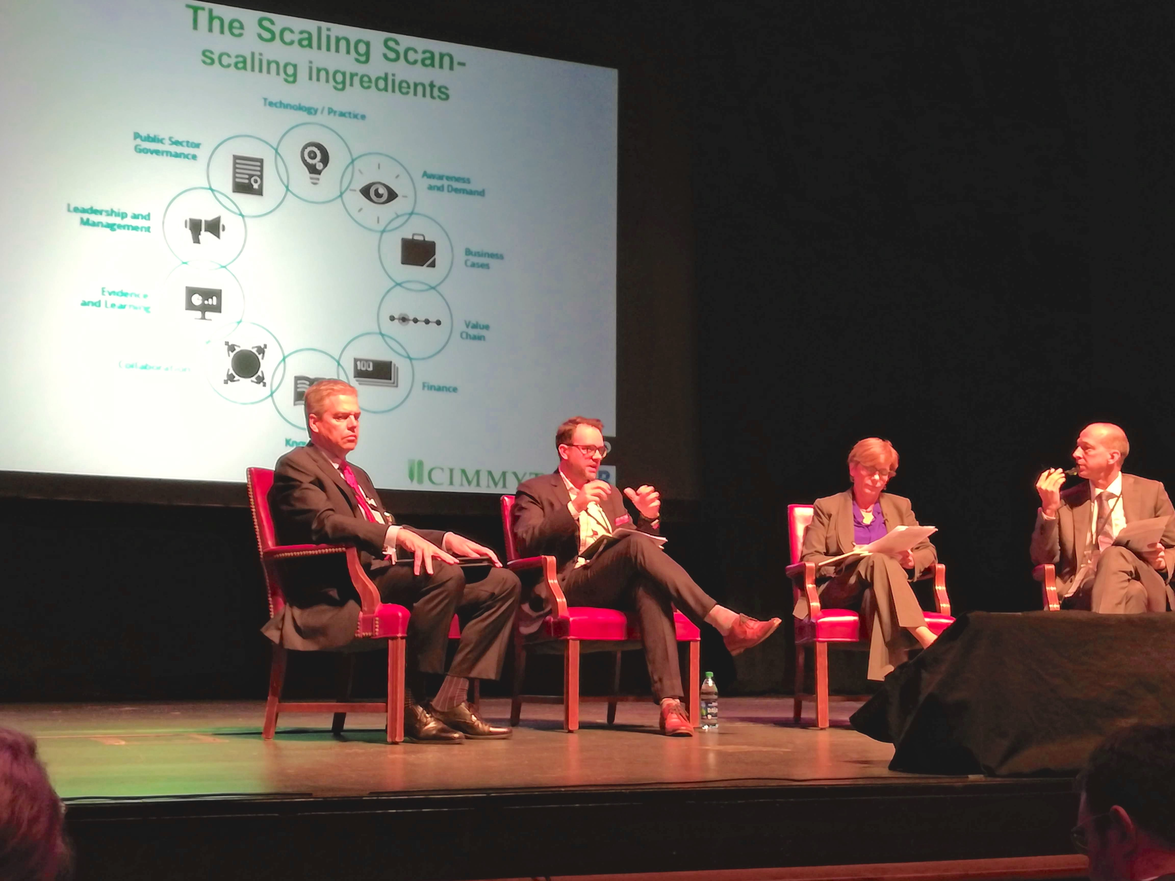 """Lennart Woltering (second from left) presents the """"ingredients"""" of the Scaling Scan tools during one of the sessions of the Purdue Scale Up Conference. (Photo: Rachel Cramer/CIMMYT)"""
