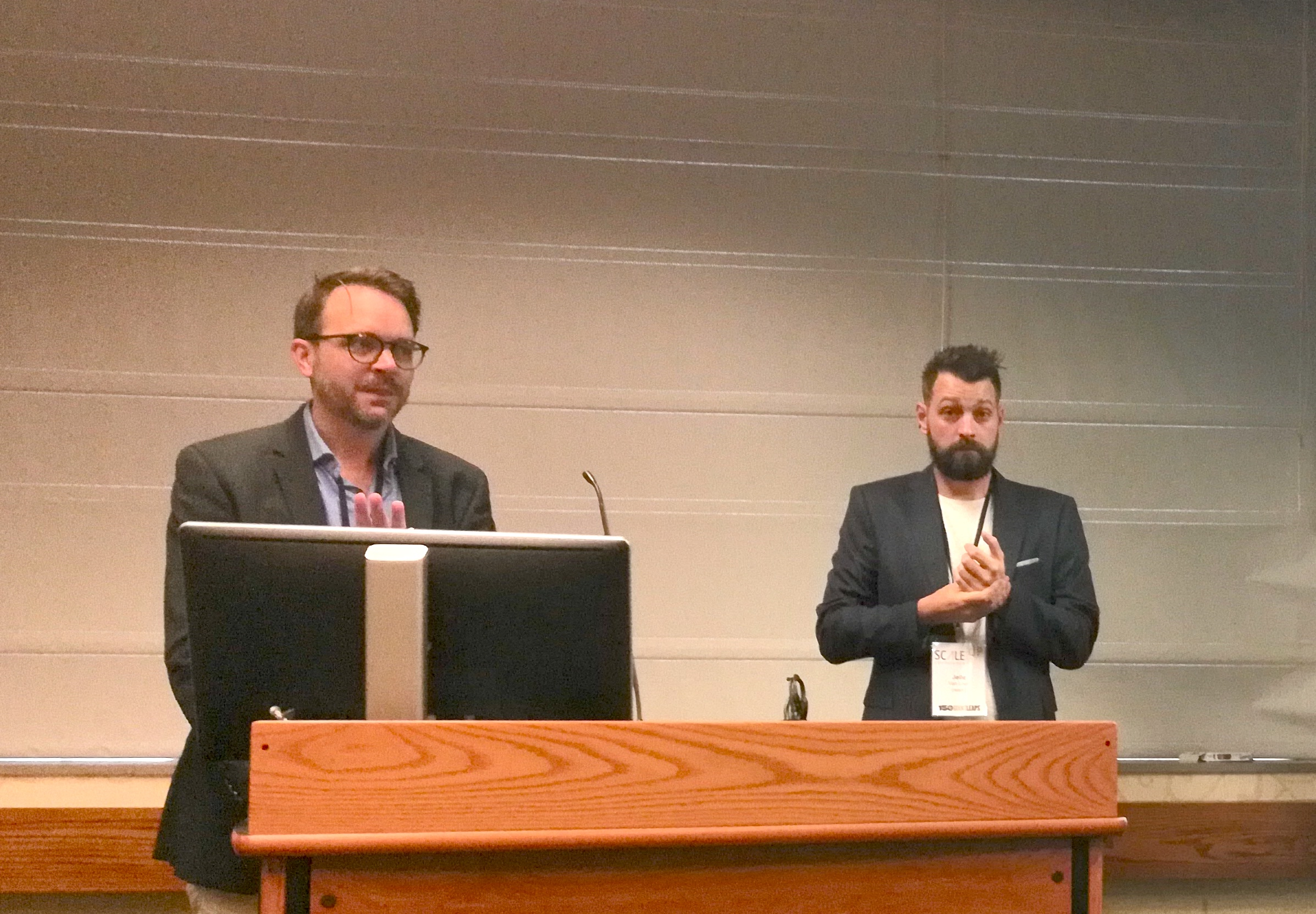 CIMMYT's scaling advisor Lennart Woltering (left) and mechanization specialist Jelle van Loon led a session. (Photo: Rachel Cramer/CIMMYT)