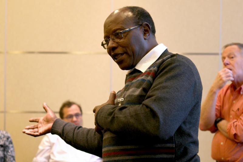 Paul Kimani, from the University of Nairobi, speaks during the meeting. (Photo: Sam Storr/CIMMYT)