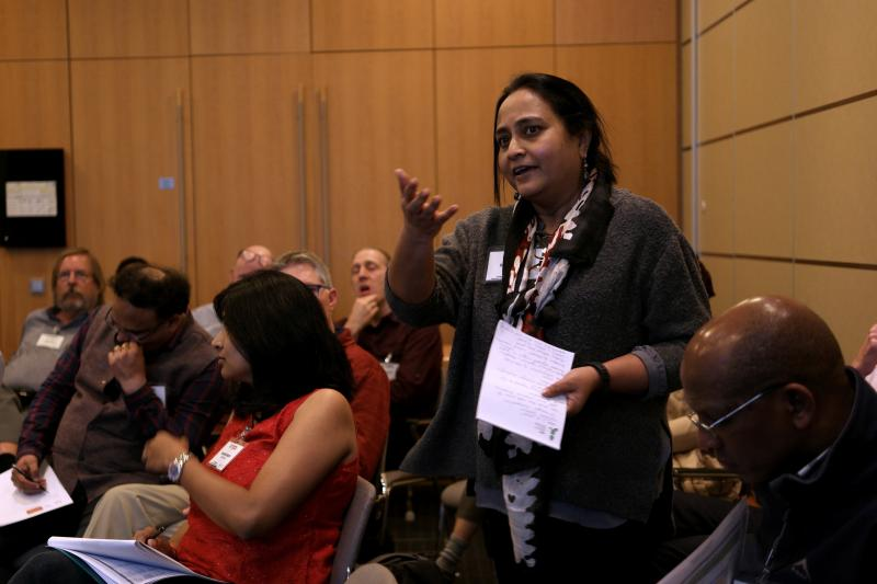 IRRI's Ranjitha Puskur started a discussion on how to incorporate gender into product design. (Photo: Sam Storr/CIMMYT)