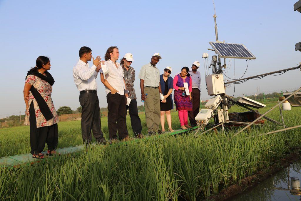 CIMMYT scientist Tek Sapkota (second from left) explains greenhouse gas emissions measurement methods to a visiting group of scientists.