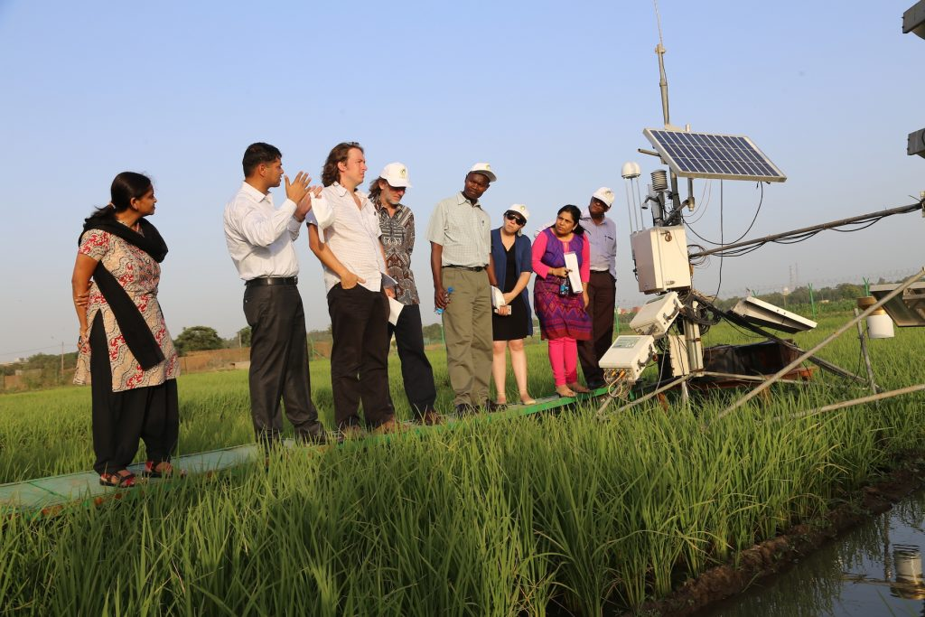 CIMMYT scientist Tek Sapkota (second from left) explains greenhouse gas emissions measurement methods to a visiting group of scientists.