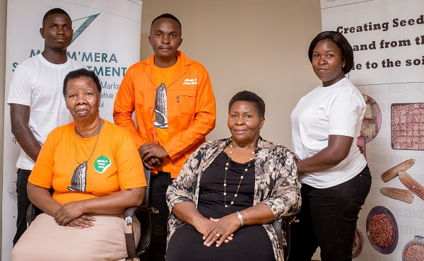 Grace Malindi (second from right) at her office in Lilongwe, Malawi. (Photo: Lucy Maina/CIMMYT)