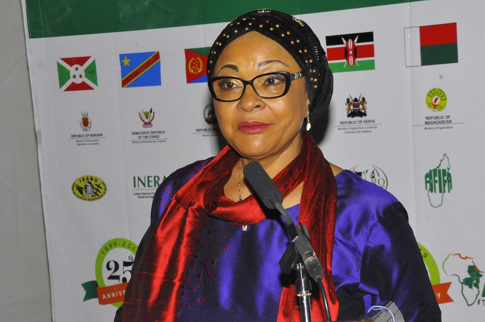 Josefa Leonel Correia Sacko, Commissioner for Rural Economy and Agriculture of the African Union, speaks at the SIMLESA regional forum. (Photo: Jerome Bossuet)