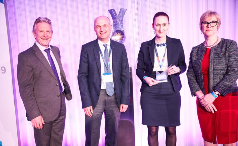 MARPLE team members Dave Hodson and Diane Saunders (second and third from left) stand for a photograph after receiving the International Impact award. With them is Malcolm Skingle, director of Academic Liaison at GlaxoSmithKline (first from left) and Melanie Welham, executive chair of BBSRC. (Photo: BBSRC)