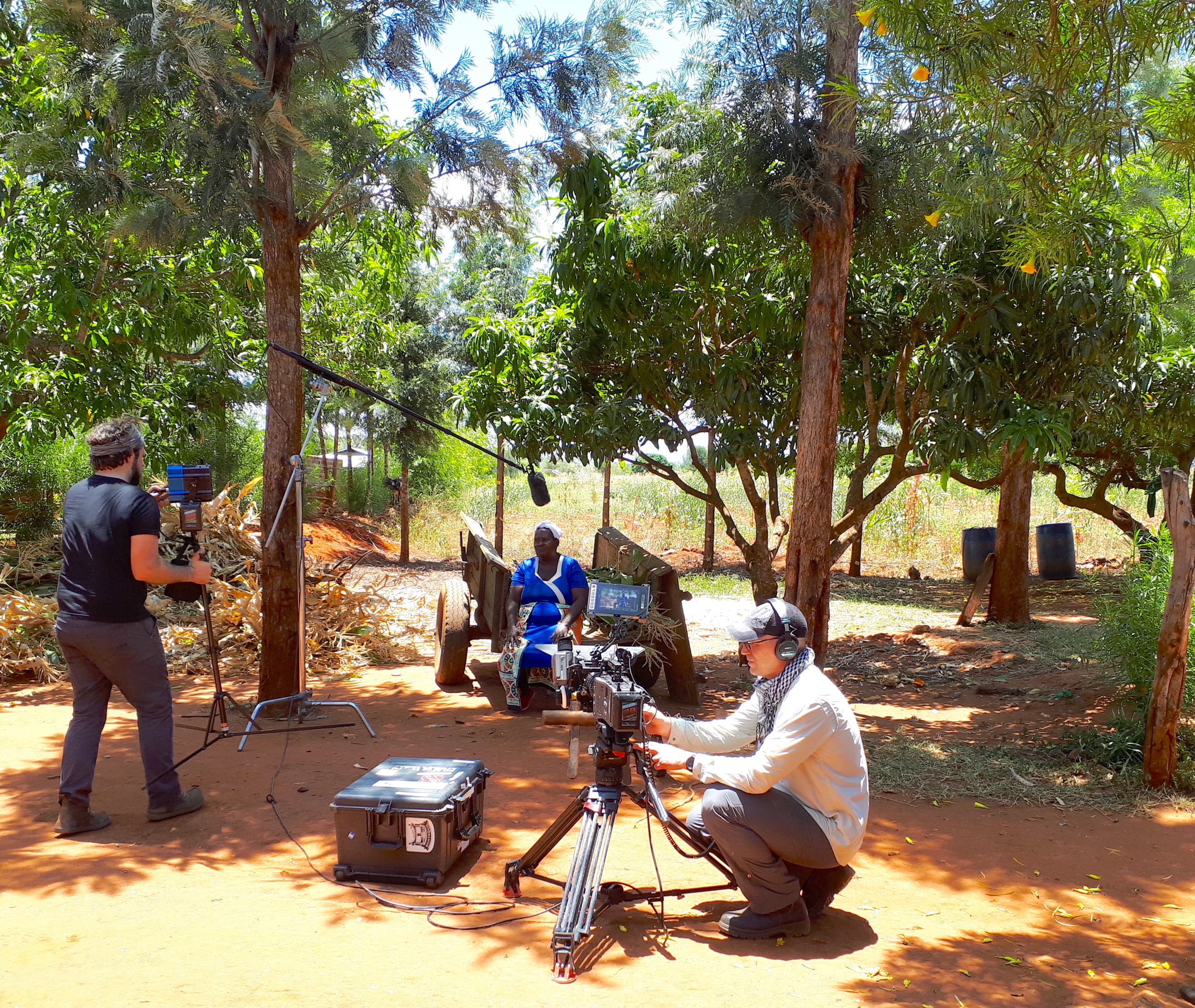 The video crew sets up the interview with Veronica Nduku. (Photo: Jerome Bossuet/CIMMYT)
