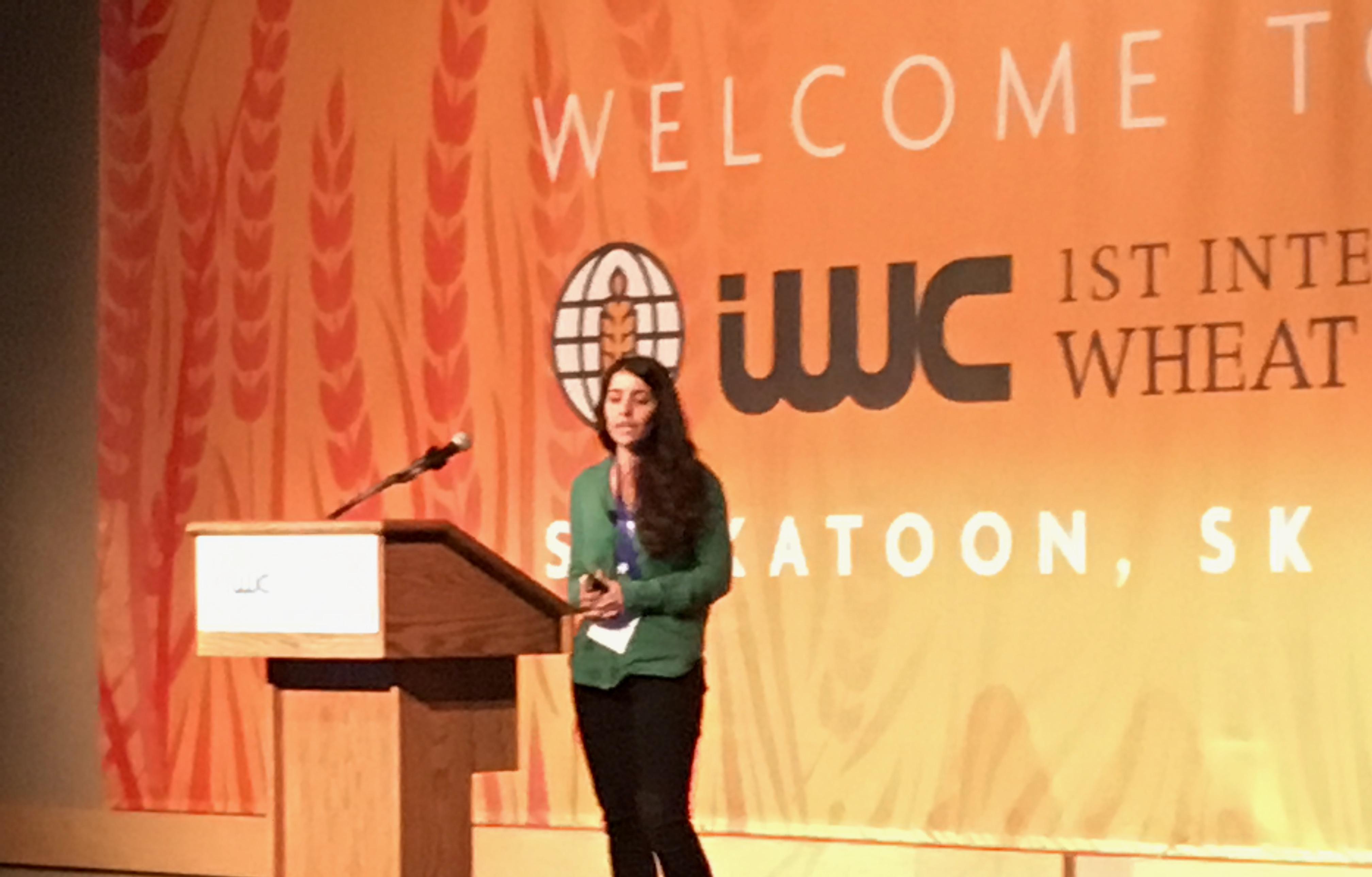 CIMMYT wheat physiologist Gemma Molero presents at the International Wheat Congress. (Photo: Marcia MacNeil/CIMMYT)