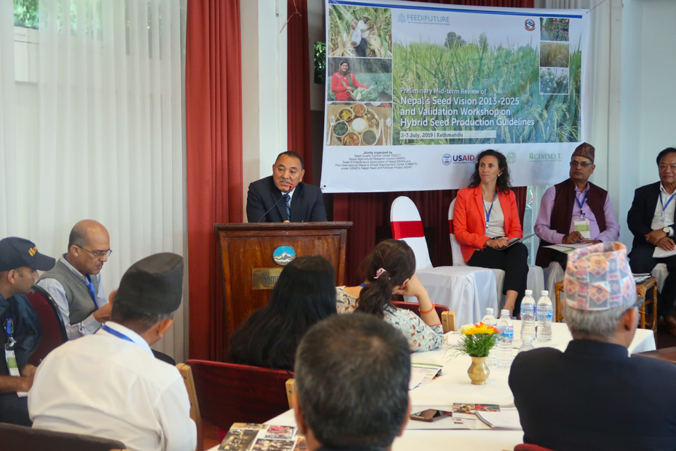 Yubak Dhoj G.C., Secretary of Nepal's Ministry of Agriculture and Livestock Development, explained the importance of seed stakeholders' collaboration to achieve the National Seed Vision targets. (Photo: Bandana Pradhan/CIMMYT)
