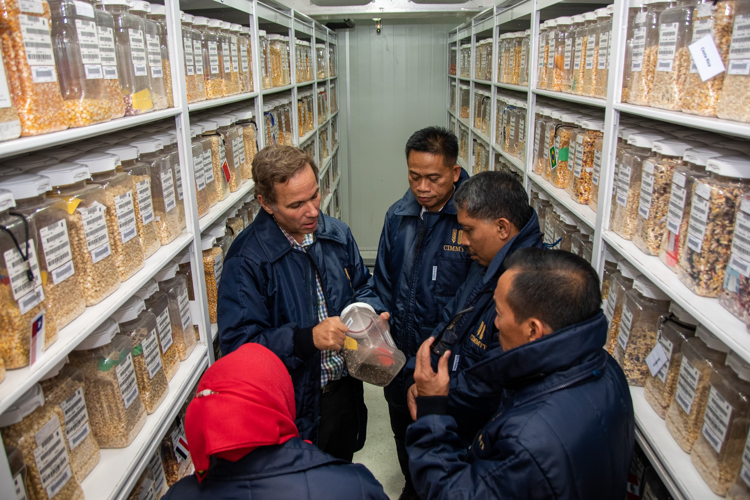 The Indonesian delegation visited CIMMYT's germplasm bank. (Photo: Alfonso Cortés/CIMMYT)