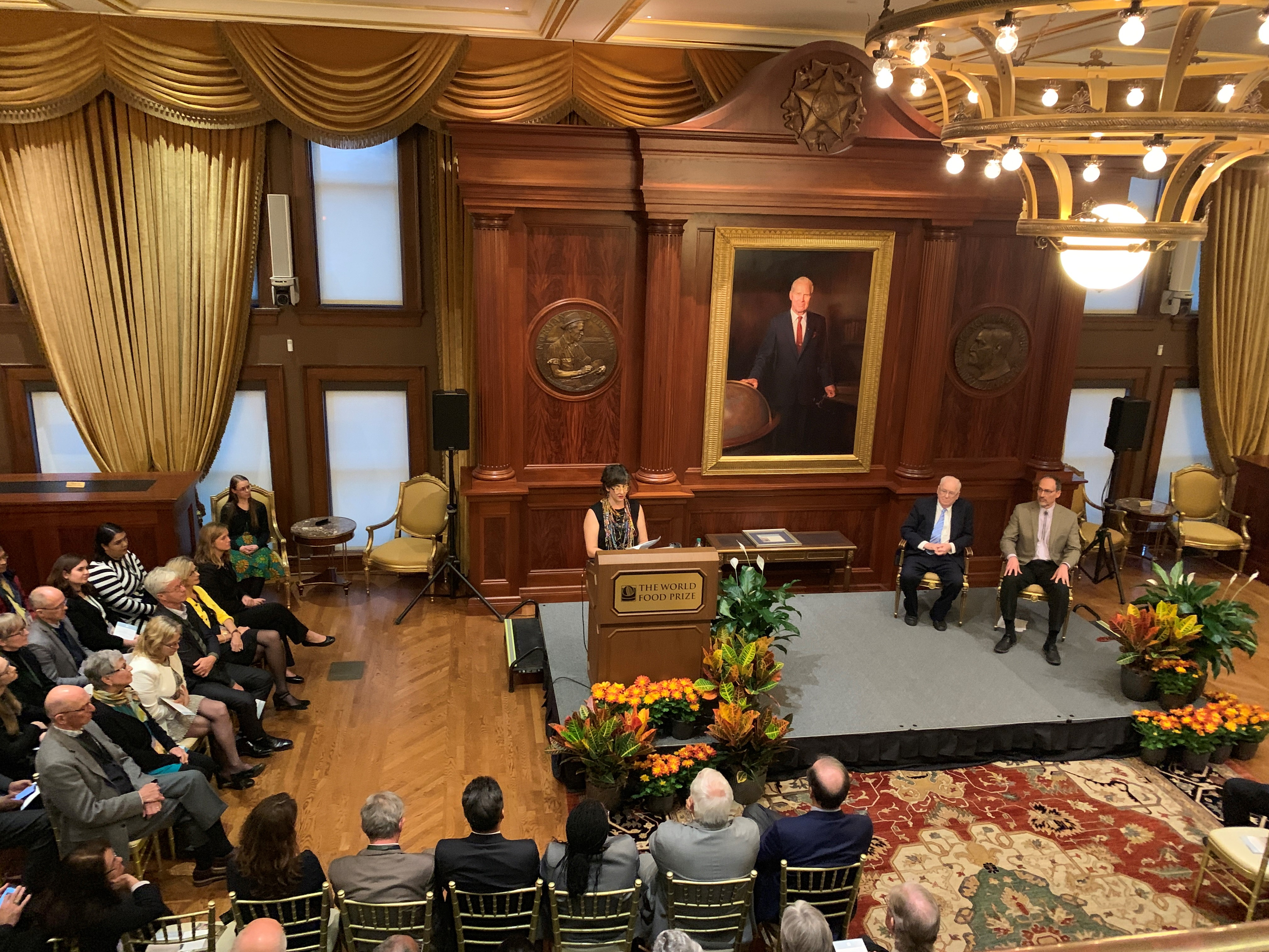 Hale Ann Tufan, recipient of the 2019 Norman E. Borlaug Award for Field Research and Application, speaks at the award ceremony. (Photo: Mary Donovan/CIMMYT)