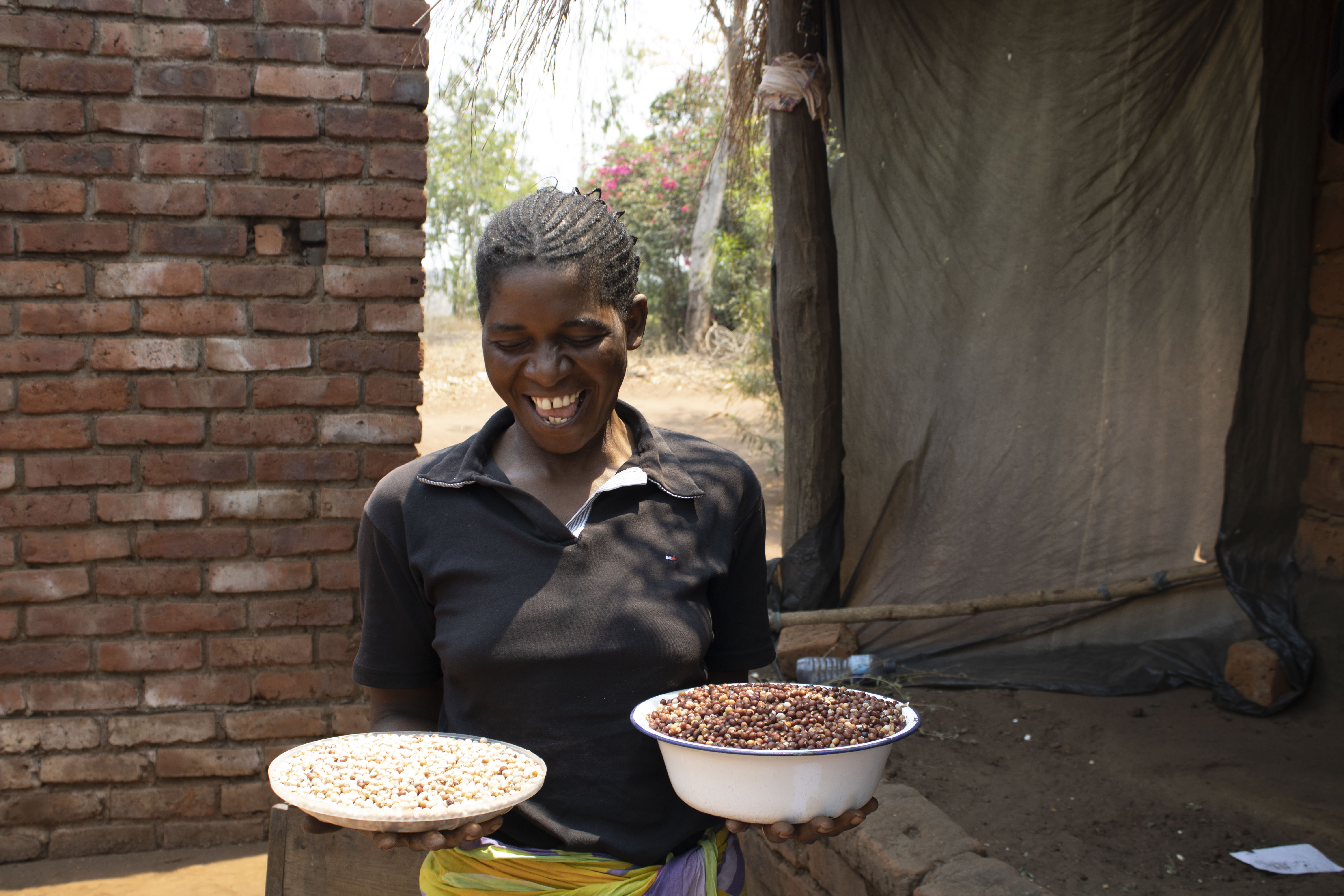 Pigeon peas are a delicacy in Lemu and Mary is happy to have sufficient stock at home. (Photo: Shiela Chikulo/CIMMYT)