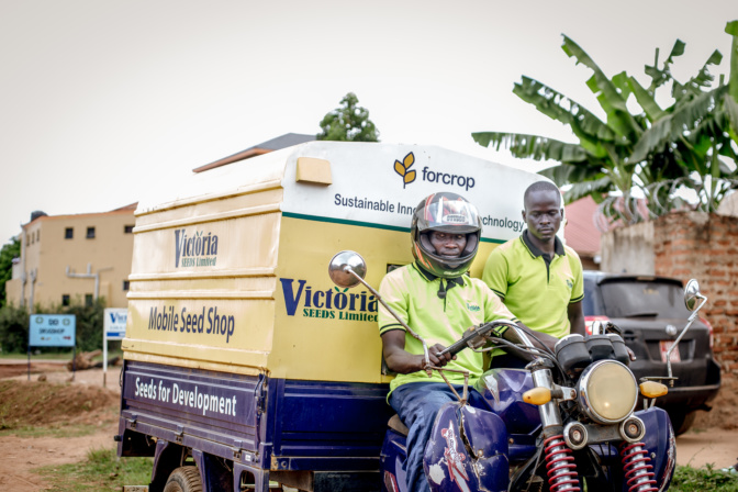 The Victoria Seeds mobile seed shop at the Dokolo market, Northern Uganda. The company uses the motorbike shop to reach farmers in remote villages where there are no agro-dealers (Photo: Kipenz Film/CIMMYT)