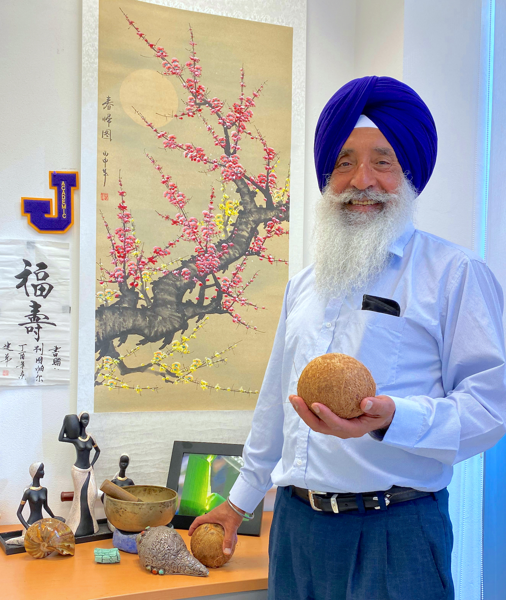 Dhugga identified the gene for an enzyme that propels the chemical reactions to produce guar gum, a cell wall polymer that is a dominant component of the edible kernel of the coconut. (Photo: Allen Wen/CIMMYT)