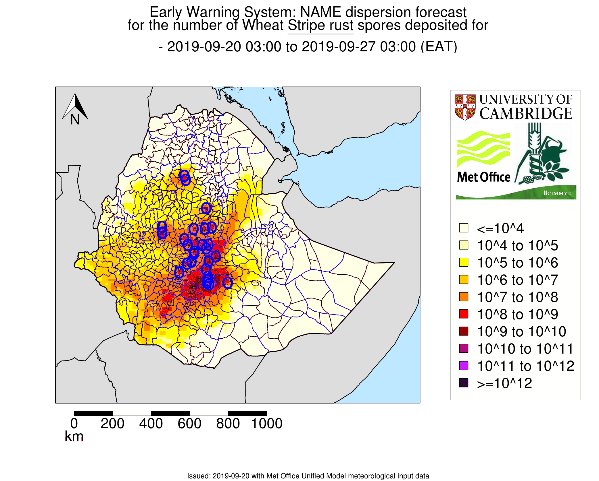 Example of weekly stripe rust spore deposition based on dispersal forecasts. Darker colors represent higher predicted number of spores deposited. (Graphic: University of Cambridge/UK Met Office)