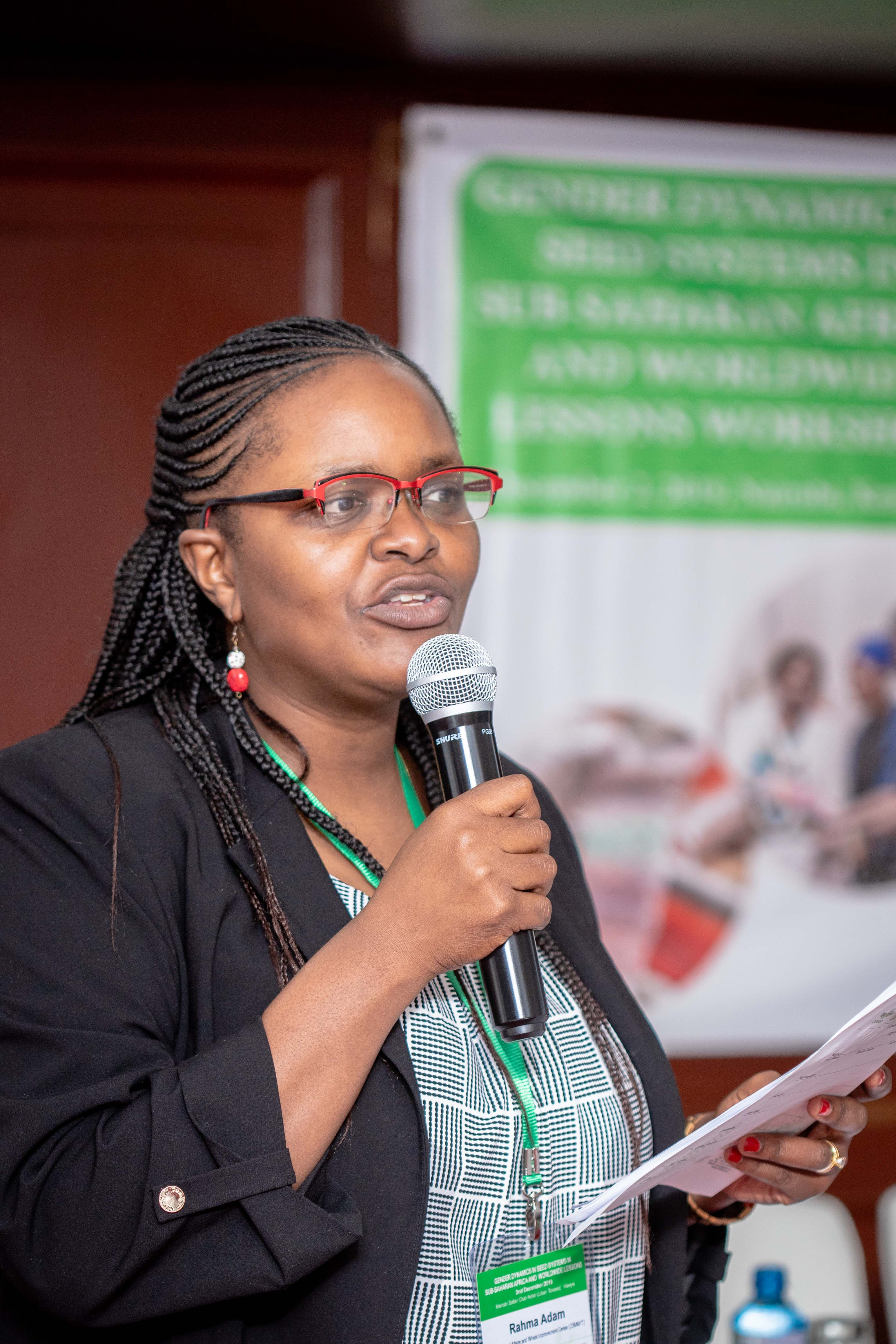 "CIMMYT's gender and development specialist Rahma Adam addresses participants at the ""Gender dynamics in seed systems in sub-Saharan Africa"" workshop. (Photo: Kipenz Films/CIMMYT)"