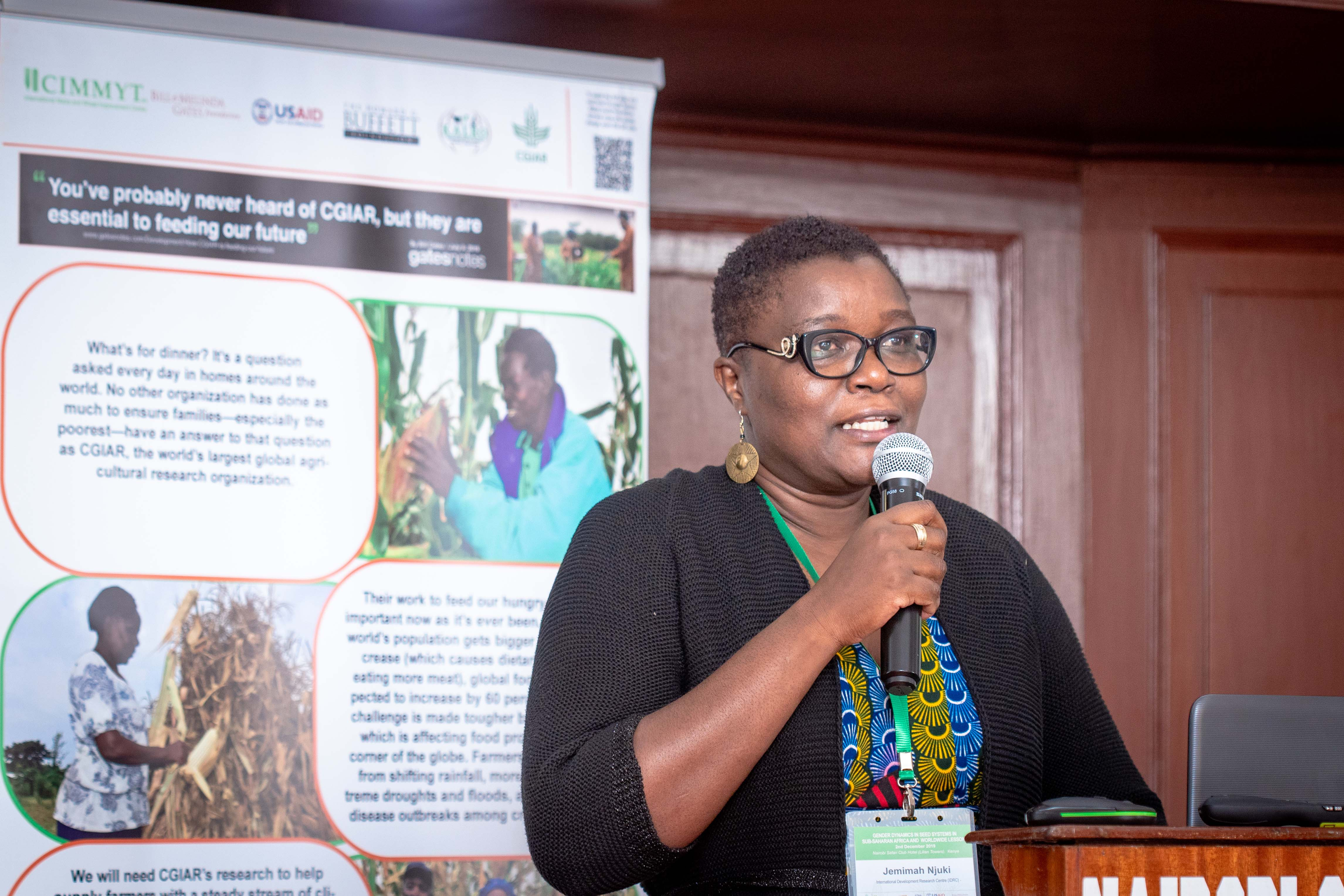 Jemimah Njuki, senior program officer at the International Development Research Center (IDRC), speaks at the workshop. (Photo: Kipenz Films/CIMMYT)