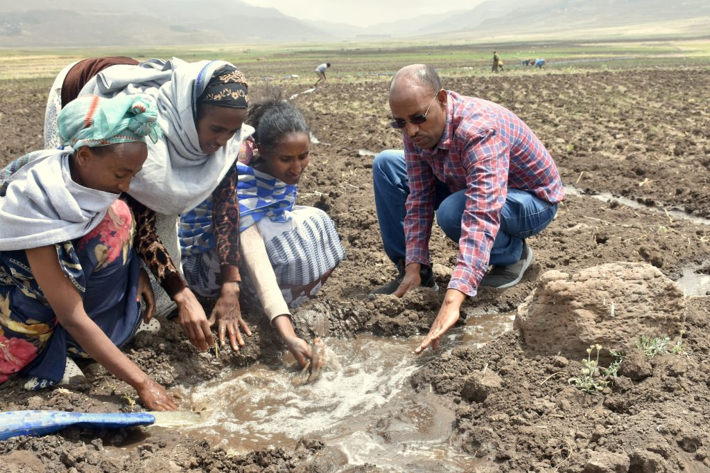 Belay Tadesse shows young women from Dellet how the water should flow. (Photo: Simret Yasabu/CIMMYT)