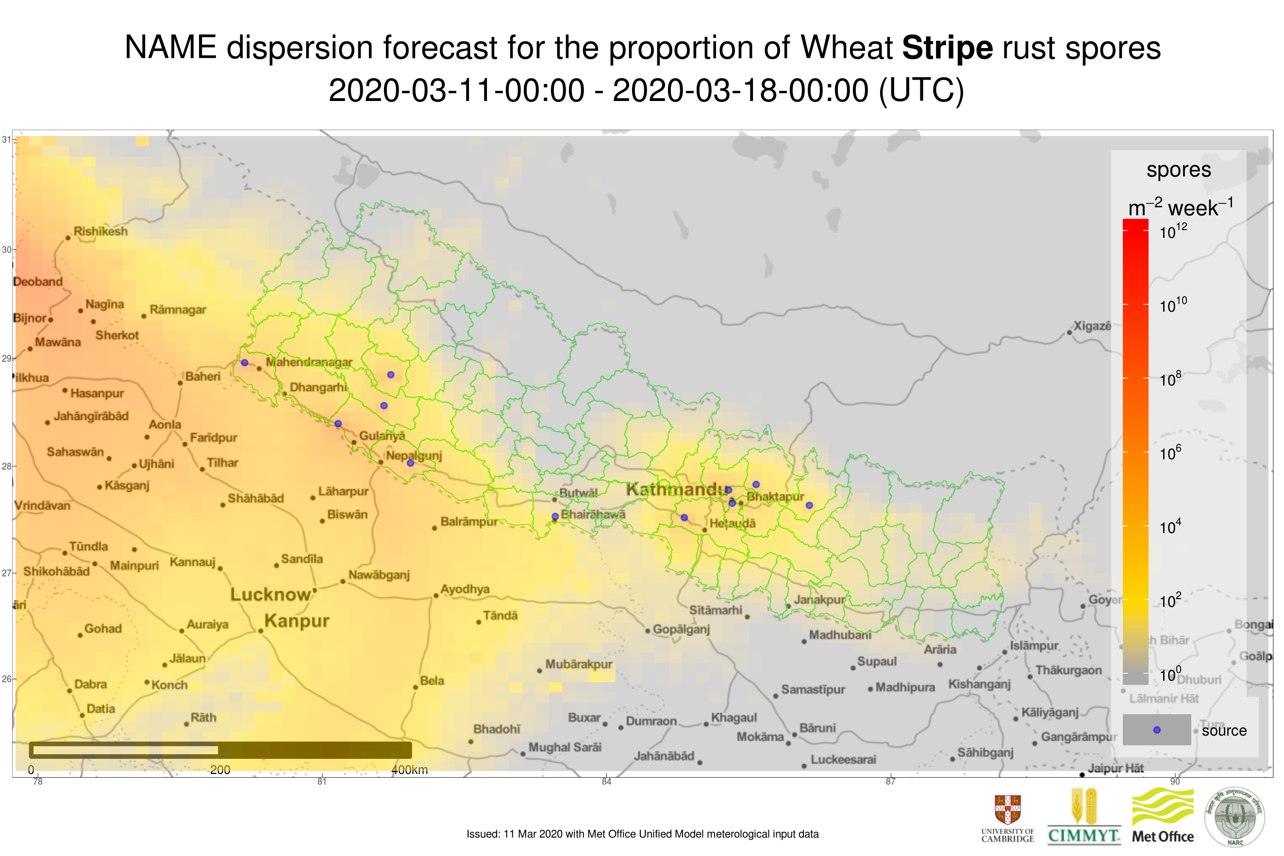 Example of weekly stripe rust spore deposition forecast in Nepal. Darker colors represent higher predicted number of spores deposited. The early warning system combines weather information from the Met Office with field and mobile phone surveillance data and disease spread modeling from the University of Cambridge. (Graphic: University of Cambridge and Met Office)