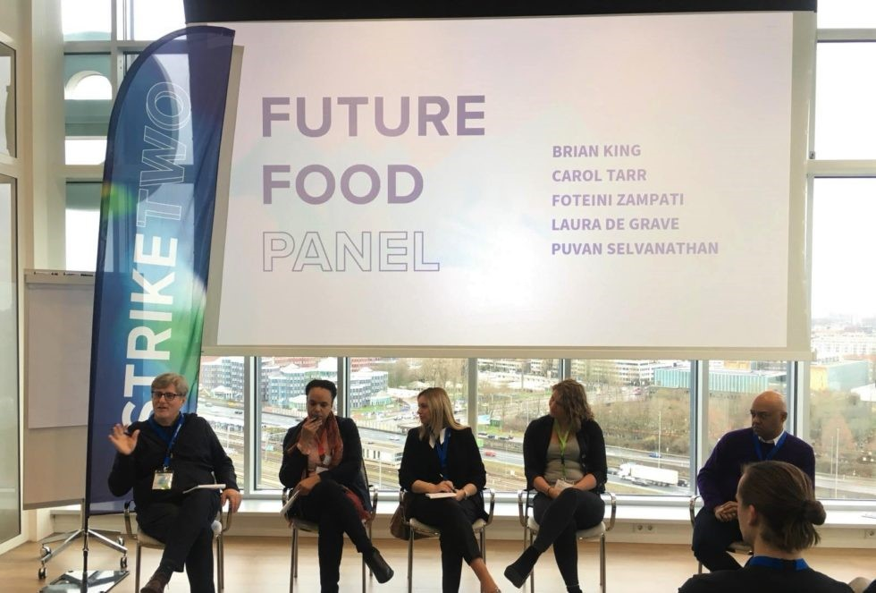 Future Food panelist speak at the Strike Two Summit in Amsterdam, the Netherlands. (Photo: The New Fork)
