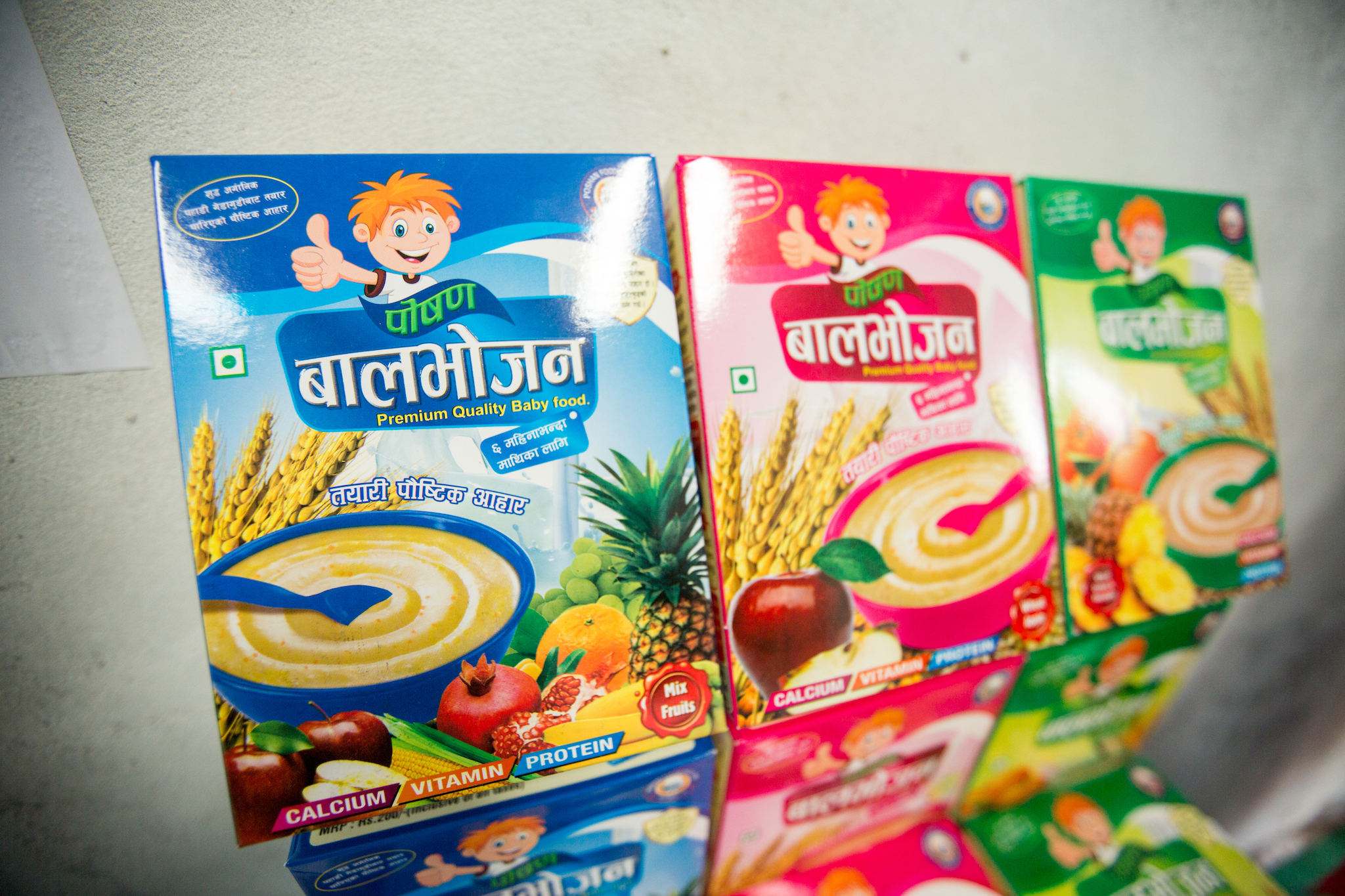 Poshan Foods uses mung bean for a wide range of products but has been particularly successful with baby food, which includes important nutrition advice for parents. (Photo: Merit Maharajan/Amuse Communication)