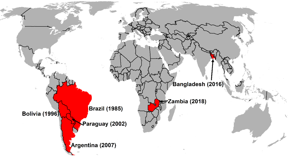 Wheat blast has expanded rapidly since it was initially discovered in Brazil in 1985. (Map: Kai Sonder/CIMMYT)