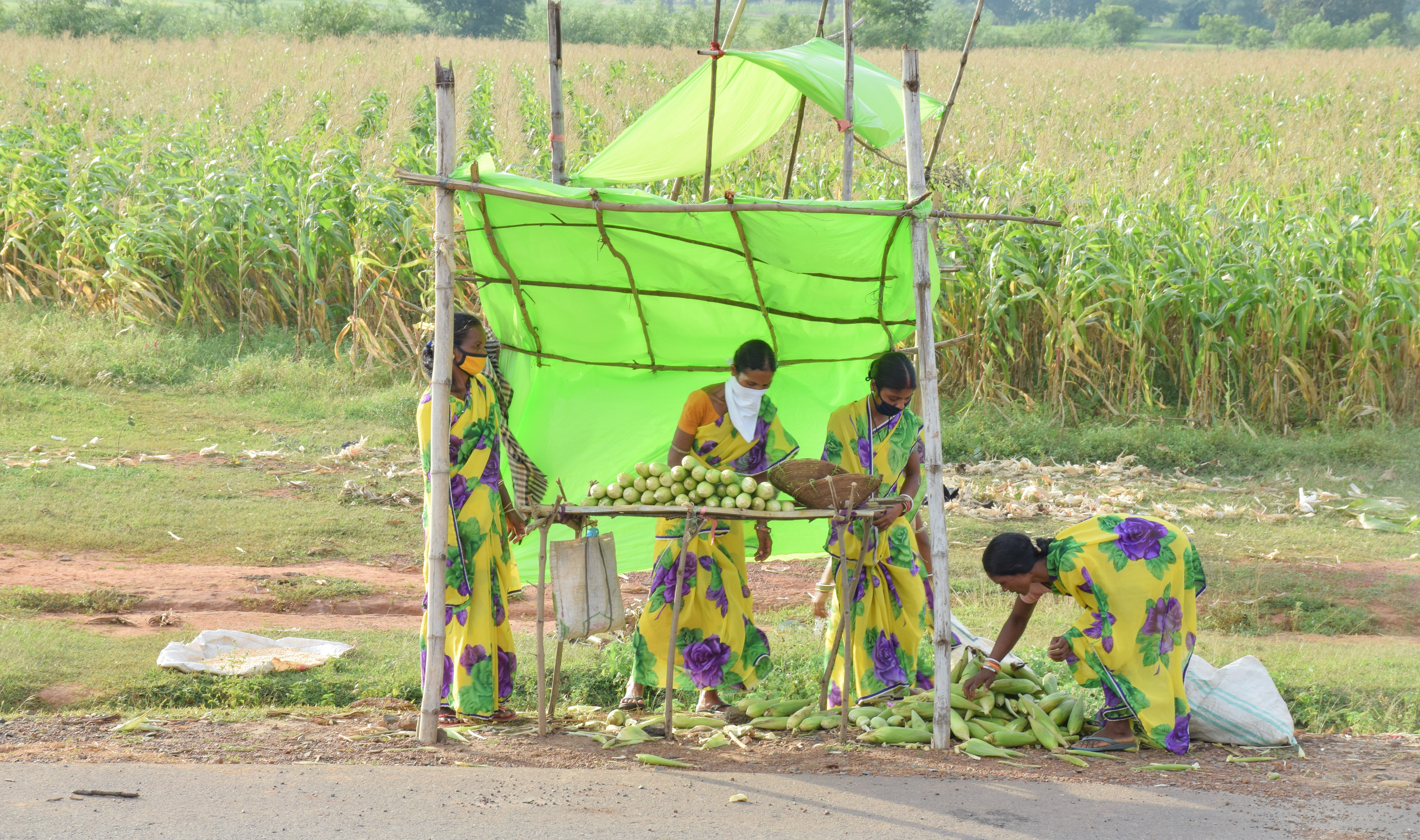 Women sell maize cobs on highway,
