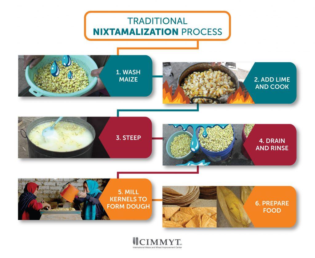 Pasos clave del proceso de nixtamalización tradicional. (Imagen: Nancy Valtierra/CIMMYT)