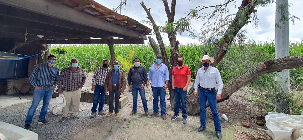 El agrónomo del CIMMYT Erick Ortiz (al centro) se reúne con agricultores de Colorado de Herrera, Pénjamo, en Guanajuato, México, que quieren participar en el proyecto Agriba Sustentable. (Foto: CIMMYT)