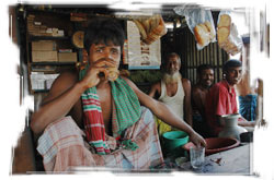 M Kazal in his roadside tea stand. 'I feel better as a landowner.