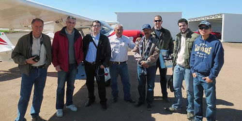 Members of CIMMYT, IAS-CSIC (Spain) and the aircraft crew during the flight tests conducted to test the new hyperspectral camera.