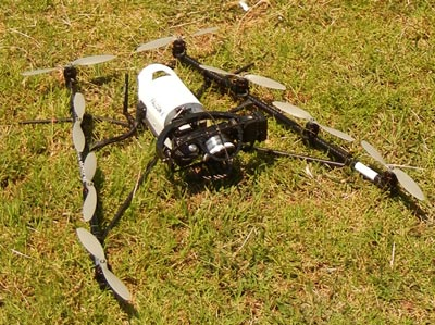Images taken by the cameras attached to this unmanned aerial vehicles (UAV) can identify healthy versus stressed plants.