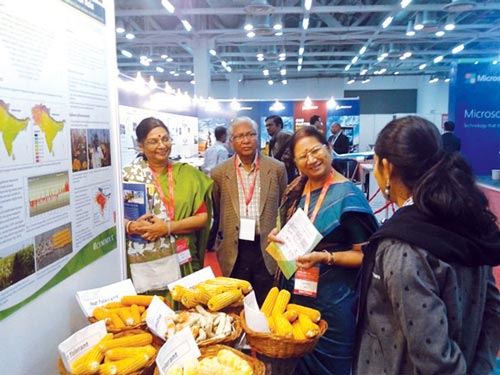 Ms. Kiranmayi T. explains HTMA products to Government of India officials. Photo: K. Seetharam/CIMMYT