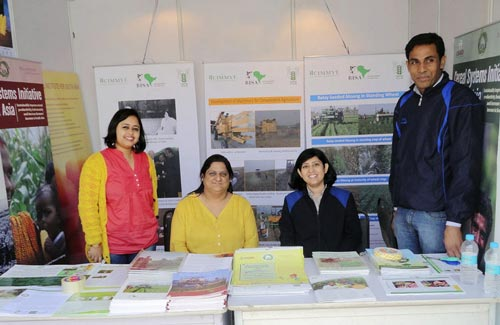 India staff members (L-R) Anuradha Dhar, Meenakshi Chandiramani, Anu Raswant and Kailash Kalvaniya at the exhibit stall in the Mela at IARI, Pusa Campus.Photo: BISA/CIMMYT