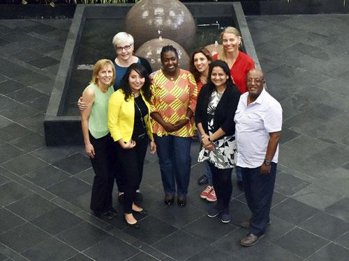 From left to right: Patti Petesch, Diana Lopez, Paula Kantor, Vongai Kandiwa, Dina Najjar, Lone Badstue, Anuprita Shukla and Amare Tegbaru. Photo: Xochiquetzal Fonseca/CIMMYT
