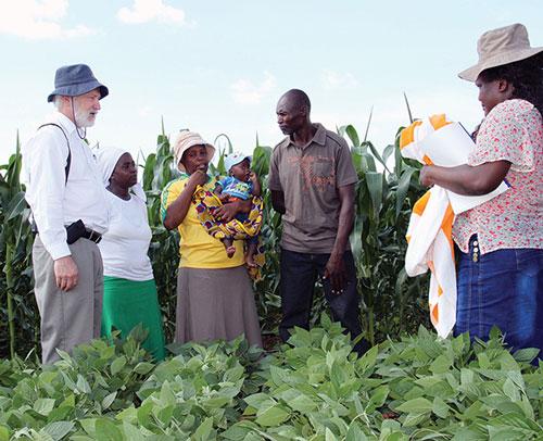 Agricultores explican al Dr. Lumpkin (extrema izquierda) los beneficios de la integración de la agricultura y la ganadería en sus ingresos y seguridad alimentaria, Provincia de Mashonaland, Zimbabwe. Fotos: Johnson Siamachira/CIMMYT