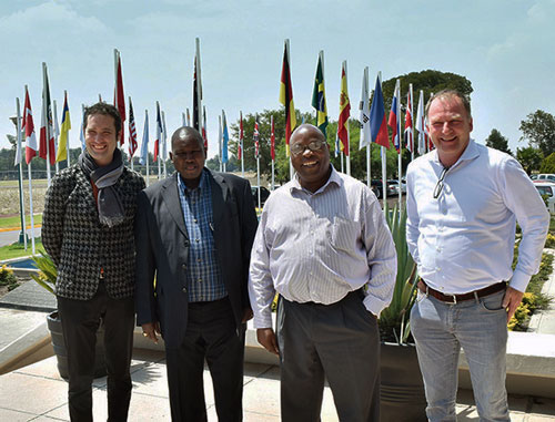 Taking a break to capture the moment on camera. Left to right: Bram Govaerts, Associate Director of the Global Conservation Agriculture Program and leader of MasAgro, Eliud Kireger, Stephen Mugo and Victor Kommerell, Program Manager-WHEAT. Photo: CIMMYT Files