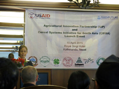 Beth Dunford, Mission Director, USAID Nepal, giving welcome remarks at the CSISA-NP new phase launch. Photo: Anuradha Dhar/CIMMYT
