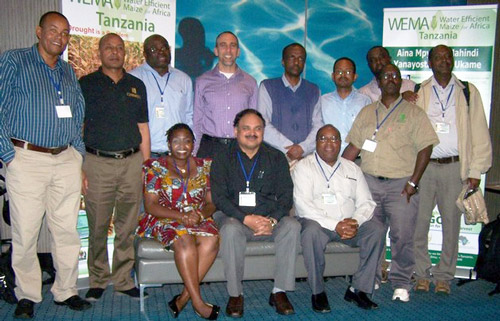 The CIMMYT team at the WEMA meeting. Back row, left to right: Yoseph Beyene, Kassa Semagn, Lewis Machida, Jarett Abramson, Mosisa Regasa, Tadele Tefera, Bruce Anani and Amsal Tarekegne. Front row, left to right: Vongai Kandiwa, B.M. Prasanna, Stephen Mugo and James Gethi.