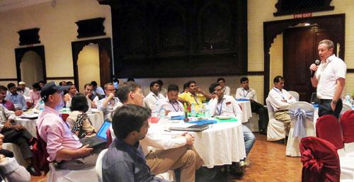 Andrew McDonald, CSISA Project Leader, speaks at CSISA's planning and evaluation meeting in Kathmandu, Nepal. Photo: Ashwamegh Banerjee