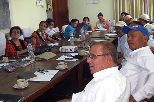 Workshop participants in discussion at CIMMYT-Nepal.