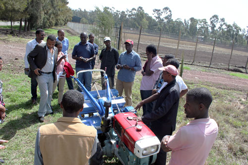 Service providers from three Africa RISING program sites being trained in the operation, maintenance, business, financial management and marketing of two-wheel tractors. Photo: Frédéric Baudron/CIMMYT