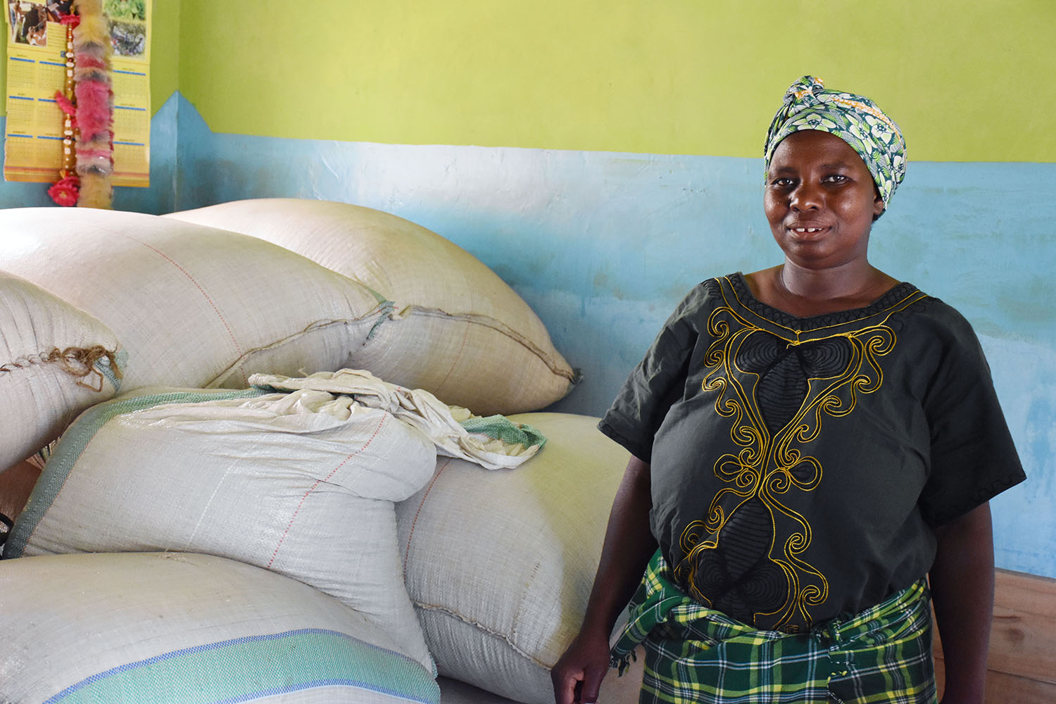 Eliamani Saitati, a farmer in Olkolili village in northern Tanzania, shows her harvest from HB513, a variety that is both nitrogen-use efficient and drought tolerant.