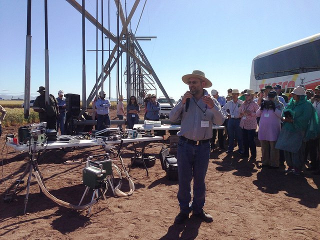 CIMMYT wheat physiologist Matthew Reynolds describes the technology used for conducting research into heat and drought resilient wheat varieties in Ciudad Obregon in Mexico's northern state of Sonora in March 2015. CIMMYT/Julie Mollins