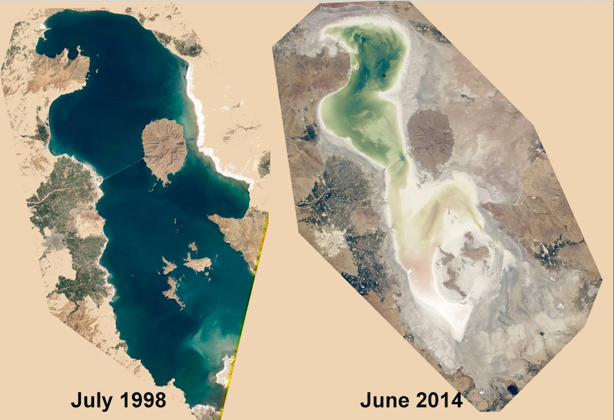 "Source: The Guardian. ""Lake Urmia: how Iran's most famous lake is disappearing"""