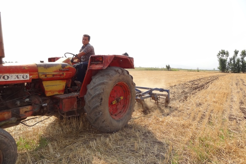 Above, a farmer in Golestan Province in Iran practicing minimum tillage, a conservation agriculture technique that conserves soil and saves time. Photo: M.E. Asadi