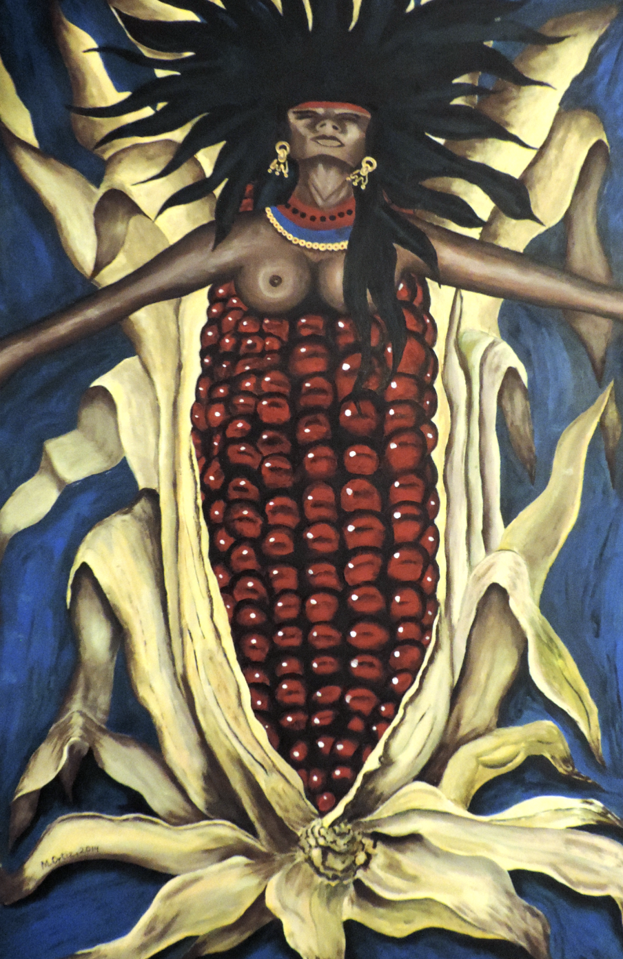 Maize is entwined in the history and traditions of Mexico. Artwork by Marcelo Ortiz