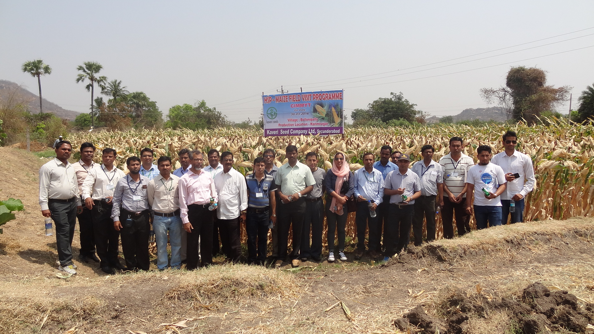 Participants learn about large-scale commercial seed production a during a visit to Kaveri Seeds Pvt. Ltd in Jiyanpur.  Photo: CIMMYT
