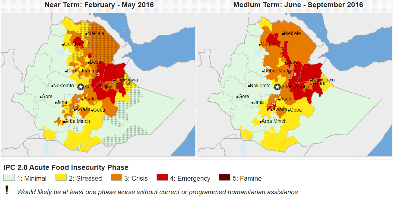 Food security status across Ethiopia. Source: Fews.Net