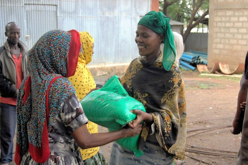 Seed is being distributed to 240 drought-affected farmers in the kebele of Ubobracha. Photo: E. Quilligan/CIMMYT