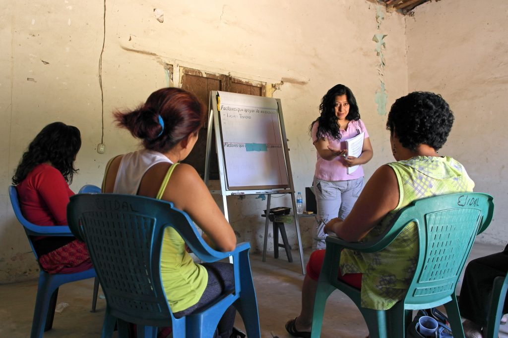 Researcher Gloria Martinez leads a focus group of women in Chiapas, Mexico.